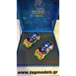 Ford Focus WRC Set (2 Cars) Winners Sweden and Jordan Rally 2008 (Gift Box) - IXO F03MC243 1/43